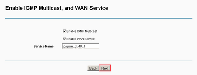 Enable IGMP Multicast and WAN Service